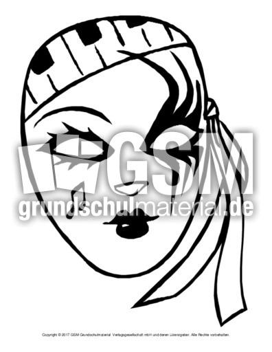 Ausmalbild Maske 3 Masken Ausmalbilder Bildende Kunst