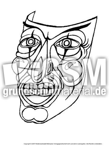 Maske-16 - Masken - Ausmalbilder - Bildende Kunst - Material Klasse ...