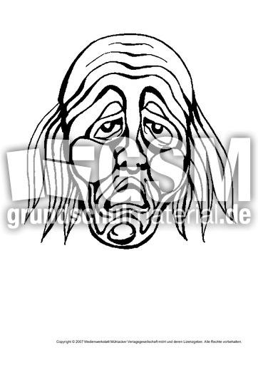 Maske 2 Masken Ausmalbilder Bildende Kunst Material Klasse 1