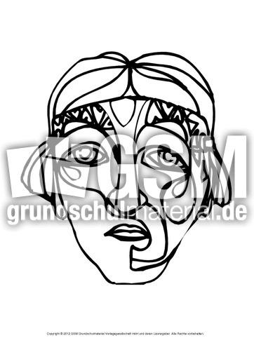 Maske Zum Ausmalen 2 Masken Ausmalbilder Bildende Kunst