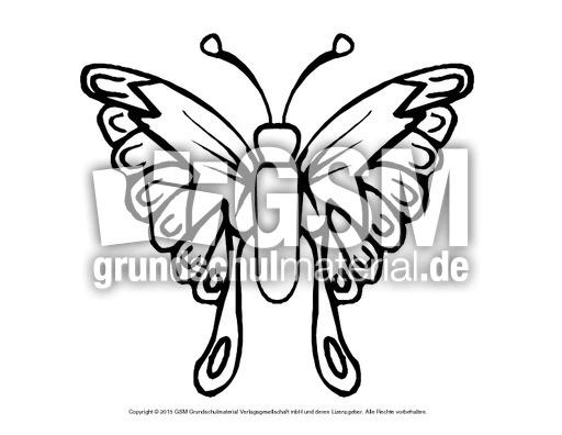 Ausmalbild Schmetterling 6 Schmetterlinge Tiere Zum Ausmalen Ausmalbilder Bildende Kunst Material Klasse 1 Grundschulmaterial De