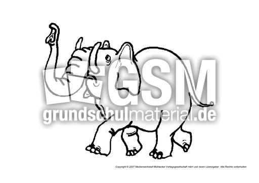 Elefant 2 Tiere Gemischt Tiere Zum Ausmalen