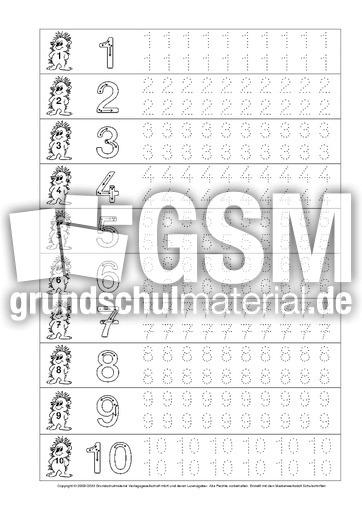 Arbeitsblatt in der Grundschule - Ziffern-schreiben - Mathematik ...