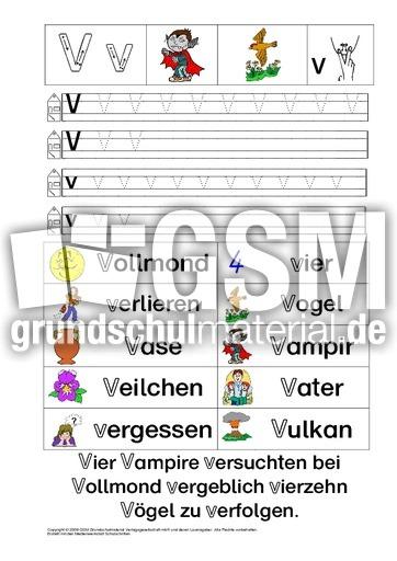 Arbeitsblätter Zu V : Ab buchstabe üben v pdf