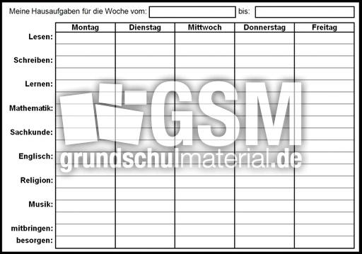 Wochenkalender-Hausaufgaben - Jahreskalender 09 - Kalender 2009 ...