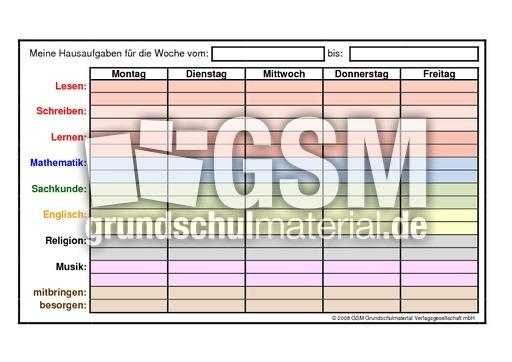 Wochenkalenderblatt-Hausaufgaben - Jahreskalender 09 - Kalender 2009 ...