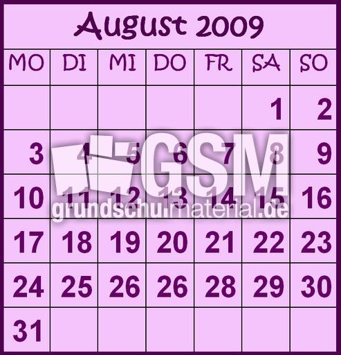 8-August-2009-B - Monate als Grafik - Kalender 2009 ...