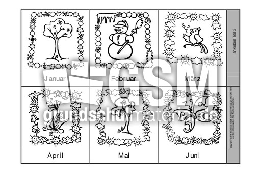 leporello die zw lf monate sw 1 leporello monate leporellos kalender material klasse 2. Black Bedroom Furniture Sets. Home Design Ideas