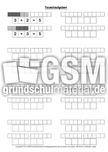 Arbeitsblatt Mathe Bis 20 : Tauschaufgaben addition im zahlenraum bis