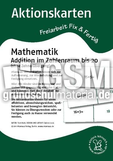 D_Aktionskarten_m_Addition 1-20 ohne 10er - Aktionskarten ...