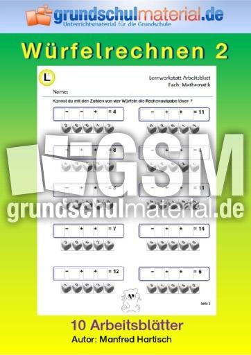 Würfelrechnen_2 - ZR 20 Würfelrechnen - Lernwerkstatt Arbeitsblätter ...