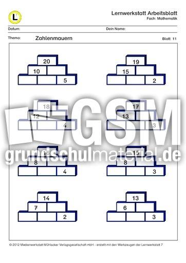 Zahlenmauern ZR20-11 - ZR 20 Zahlenmauer mit Lösungen ...
