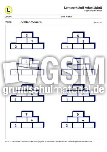 Zahlenmauern MatheÜbungen kostenlos Klasse 14