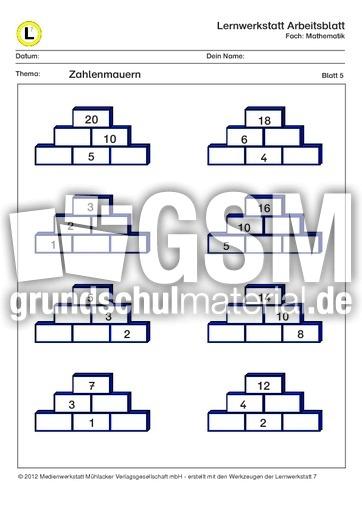 Zahlenmauern ZR20-5 - ZR 20 Zahlenmauer mit Lösungen - Lernwerkstatt ...