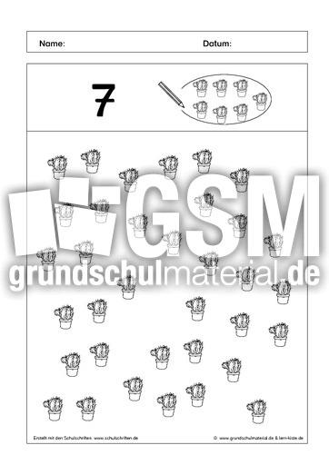 kreise ein 7 ab mengen einkreisen mengen erfassen arbeitsbl tter mathe klasse 1. Black Bedroom Furniture Sets. Home Design Ideas