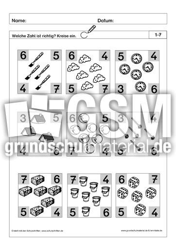 richtige zahl einkreisen 4 pdf ab mengen mengen erfassen arbeitsbl tter mathe klasse 1. Black Bedroom Furniture Sets. Home Design Ideas