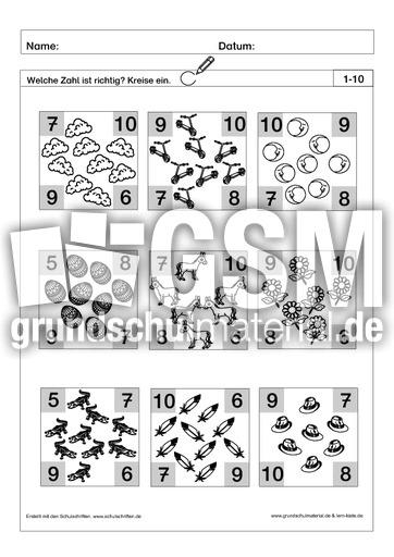richtige zahl einkreisen 7 pdf ab mengen mengen erfassen arbeitsbl tter mathe klasse 1. Black Bedroom Furniture Sets. Home Design Ideas
