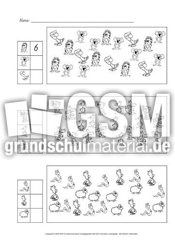 Mengen erfassen in der Grundschule - Arbeitsblätter - Mathe Klasse 1 ...