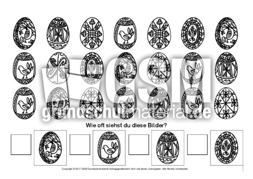 Arbeitsblatt Mathe Ostern : Ostern zählbilder mengen erfassen