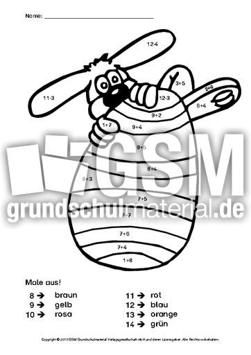 Arbeitsblatt Mathe Ostern : Ostern rechnen und malen