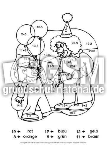 rechnenundmalenzirkus7 rechnen und malen