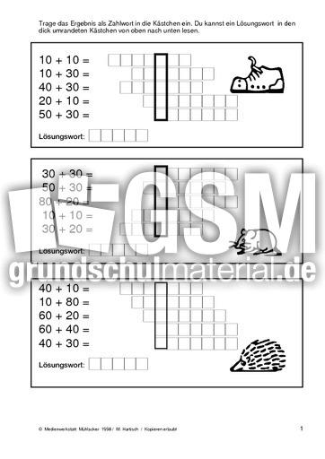 plus-Zahlw 01 - Addition ZR 100 - Zahlwörter - Arbeitsblätter ...