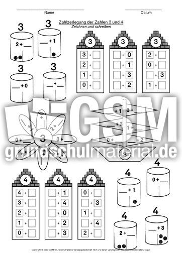 ab zahlzerlegung 3 und 4 bungsvorlagen zahlzerlegung arbeitsbl tter mathe klasse 1. Black Bedroom Furniture Sets. Home Design Ideas