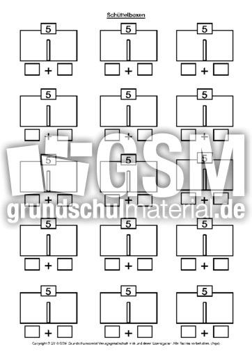 Schüttelboxen 5 - Schüttelboxen - Zahlzerlegung - Arbeitsblätter ...