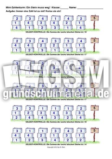 Zerlegung der 5 ohne Null - Zerlegung am Zahlenturm - Zahlzerlegung ...