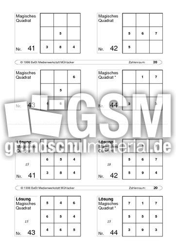 Quadrat 11 - magisches Quadrat - Arbeitsblätter - Mathe Klasse 1 ...