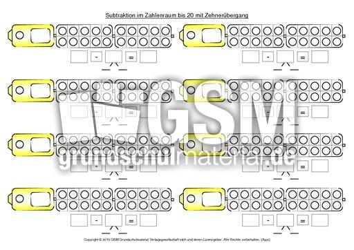 subtraktion mit zehner bergang mit zehner bergang subtraktion im zahlenraum bis 20. Black Bedroom Furniture Sets. Home Design Ideas