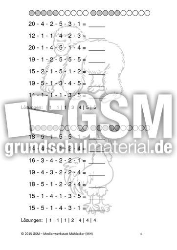 Subtraktion - Kettenaufgaben - Kopfrechnen - Arbeitsblu00e4tter - Mathe Klasse 1 - Grundschulmaterial.de