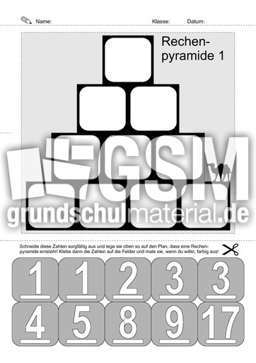 Rechenpyramiden A1 - Lernheft-Zahlenmauern - Zahlenmauern - Arbeitsblu00e4tter - Mathe Klasse 1 ...