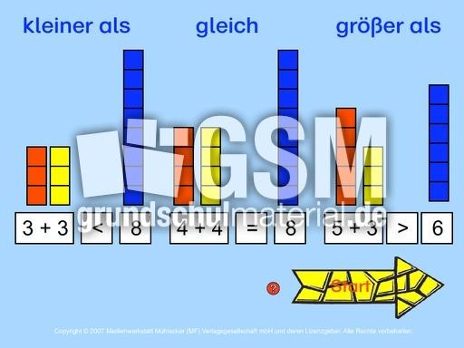 kleiner-groesser-gleich_7a - kleiner gru00f6u00dfer gleich - Computeru00fcbungen-interaktiv - Mathe Klasse 1 ...