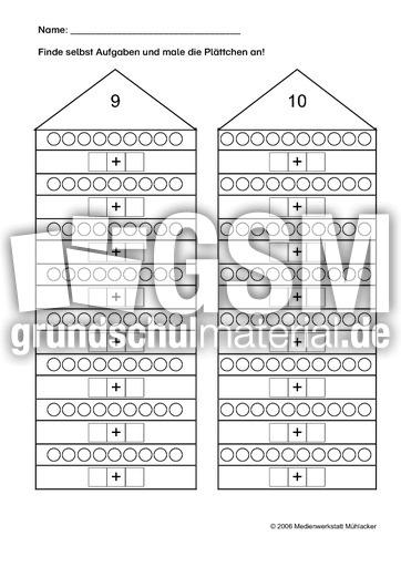 zahlenh user zr 10 3 arbeitsbl tter zerlegehaus das zerlegehaus mathe klasse 1. Black Bedroom Furniture Sets. Home Design Ideas