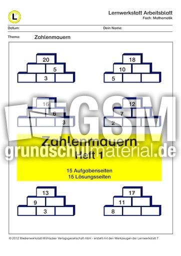 Zahlenmauern Zr20 Heft 1 Lernhefte Im Zr Bis 20 Mathe Klasse 1