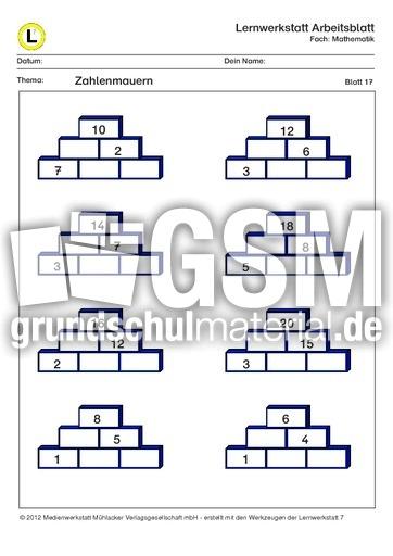 Zahlen zahlenmauern klasse 2 kostenlose druckbare for 1 zu 20 innenarchitektur