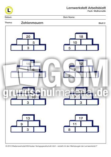 Zahlenmauern ZR20-2 - ZR 20 Zahlenmauer mit Lu00f6sungen - Lernwerkstatt Arbeitsblu00e4tter - Mathe ...