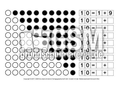 10 zerlegen 1 zahlen zerlegen anschauungsmaterial zum zr 10 material f r f rderklassen. Black Bedroom Furniture Sets. Home Design Ideas