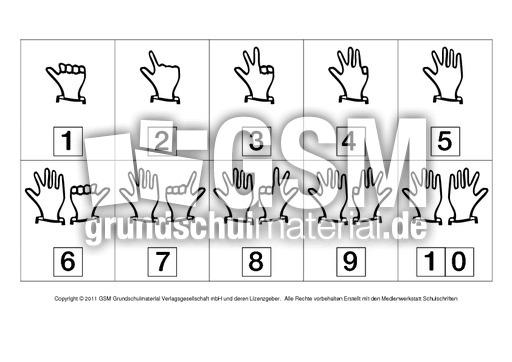 Fingerbilder - Ergu00e4nzen zur 10 - Anschauungsmaterial zum ...