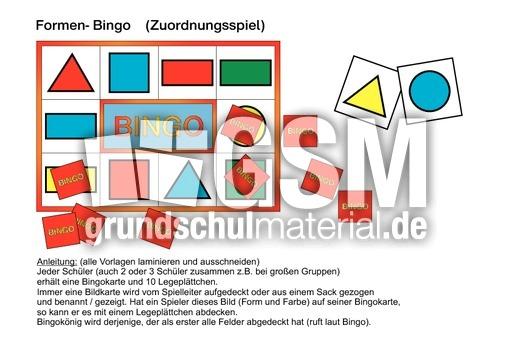 Bingo Formen und Farben - Bingo - Spiele - Mathe Klasse 1 ...