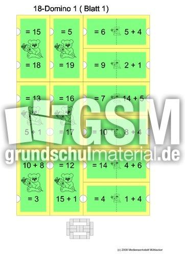 18farbig addition bis 20 rechendominos spiele