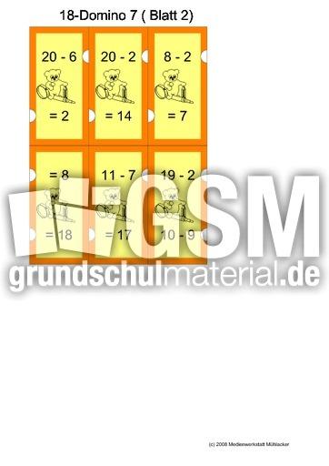 Subtraktion_18_farbig - Subtraktion bis 20 - Rechendominos - Spiele - Mathe Klasse 1 ...