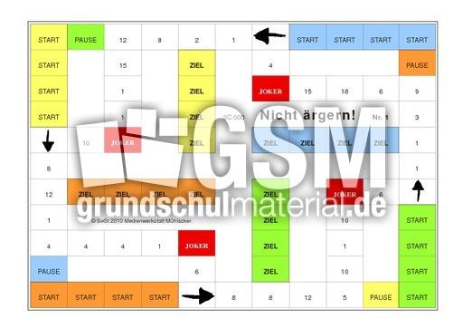 mal und geteilt im ZR 20 - Sp-Nicht u00e4rgern - Zahlenraum bis 20 - Spiele - Mathe Klasse 1 ...