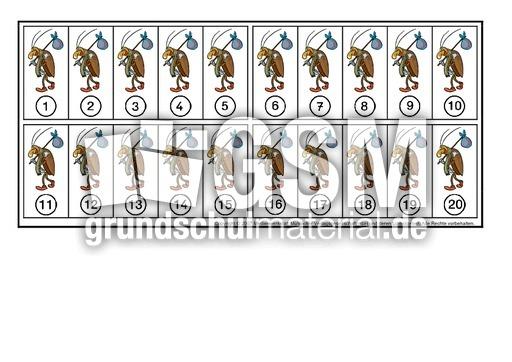 Arbeitsblatt Vorschule anschauungsmaterial mathematik grundschule gemälde : Zahlenstrahl-Maiku00e4fer - Zahlenstrahl - Mathe Klasse 1 ...