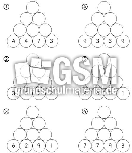 Rechenpyramide -sw-10 - Rechenpyramide sw - Abbildung fu00fcr Arbeitsbu00f6gen - Mathe Klasse 2 ...
