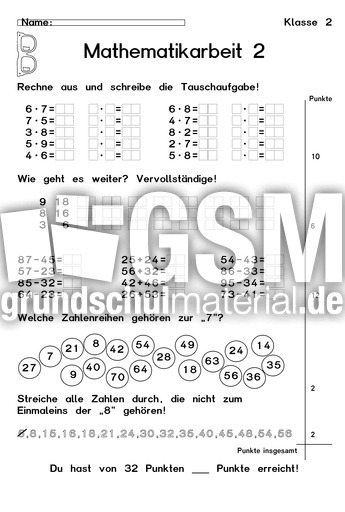 Arbeit 2-4 - Arbeiten - Arbeitsblätter - Mathe Klasse 2 ...