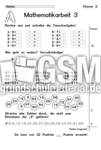 Beste Arbeit Für Klasse 2 Ideen - Mathematik & Geometrie ...