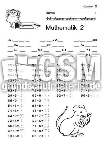 Mathe AB 01 - Arbeiten - Arbeitsblätter - Mathe Klasse 2 ...