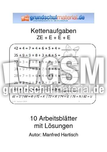 ZE + E + E - Kettenaufgaben - Arbeitsblätter - Mathe Klasse 2 ...